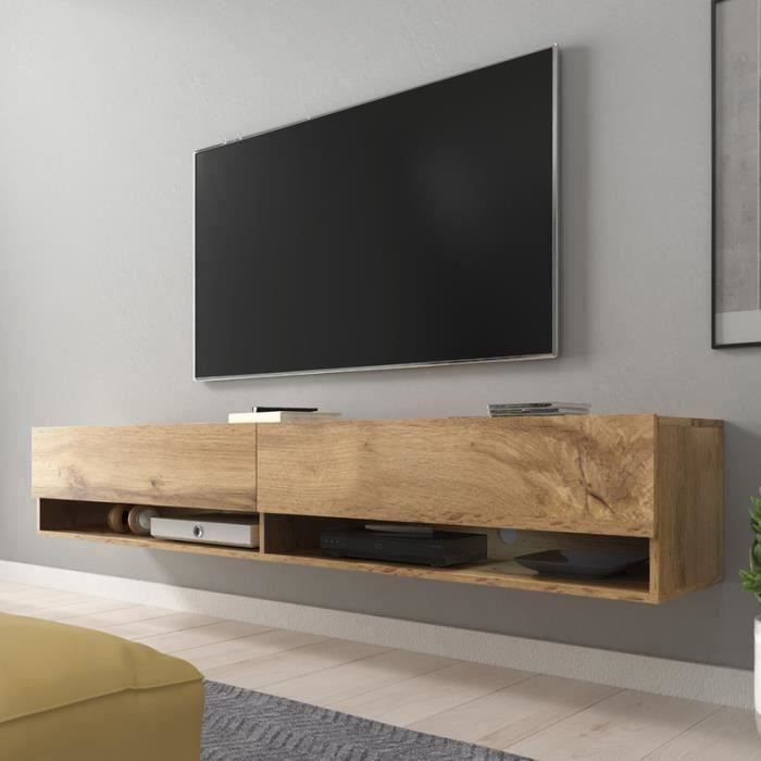 Meuble tv meuble de salon wander 180 cm effet ch ne wotan sans led 2 niches ouvertes - Meuble tv simple ...