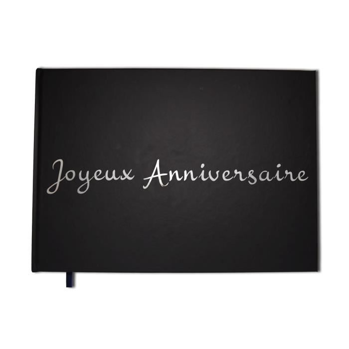 joyeux anniversaire carnet album noir format a4 paysage couverture mate lettres chrom es. Black Bedroom Furniture Sets. Home Design Ideas