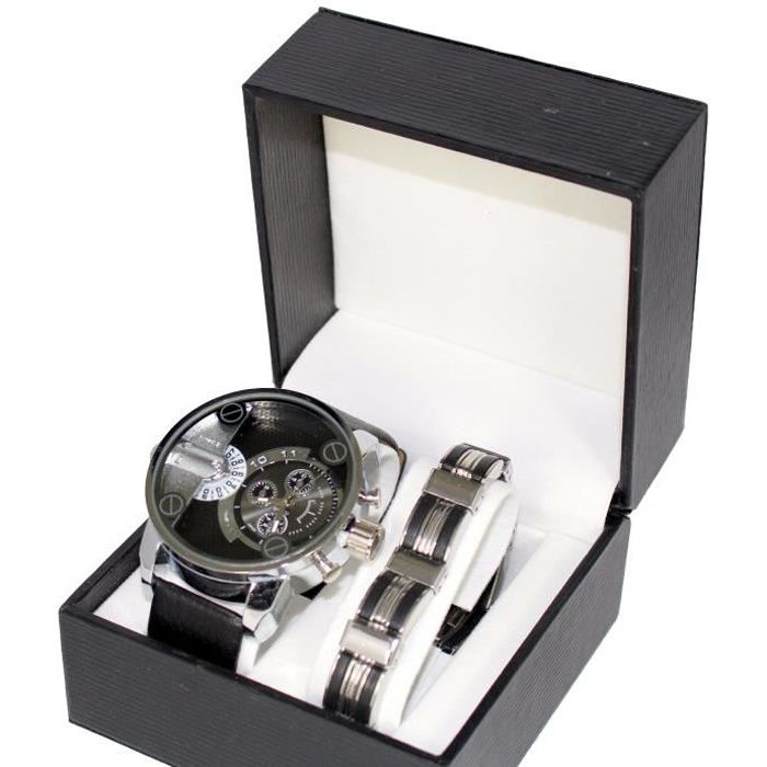 coffret montre homme gros cadran only the brave gourmette acier achat vente montre cdiscount. Black Bedroom Furniture Sets. Home Design Ideas