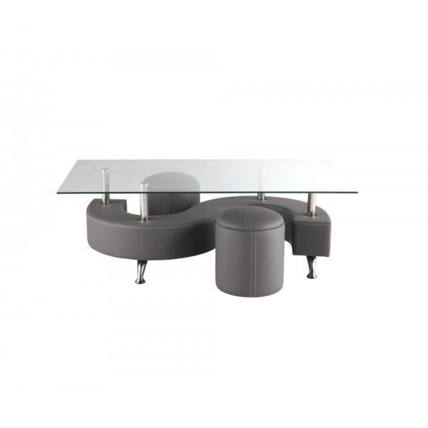 Table Basse S Grise 2 Poufs Achat Vente Table Basse Table