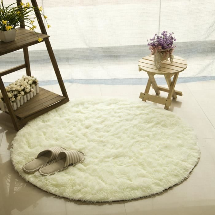tapis rond 120cm velours louna blanc achat vente tapis. Black Bedroom Furniture Sets. Home Design Ideas