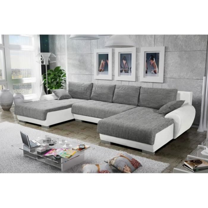 canap d 39 angle convertible en u teren gris et blanc achat vente canap sofa divan. Black Bedroom Furniture Sets. Home Design Ideas