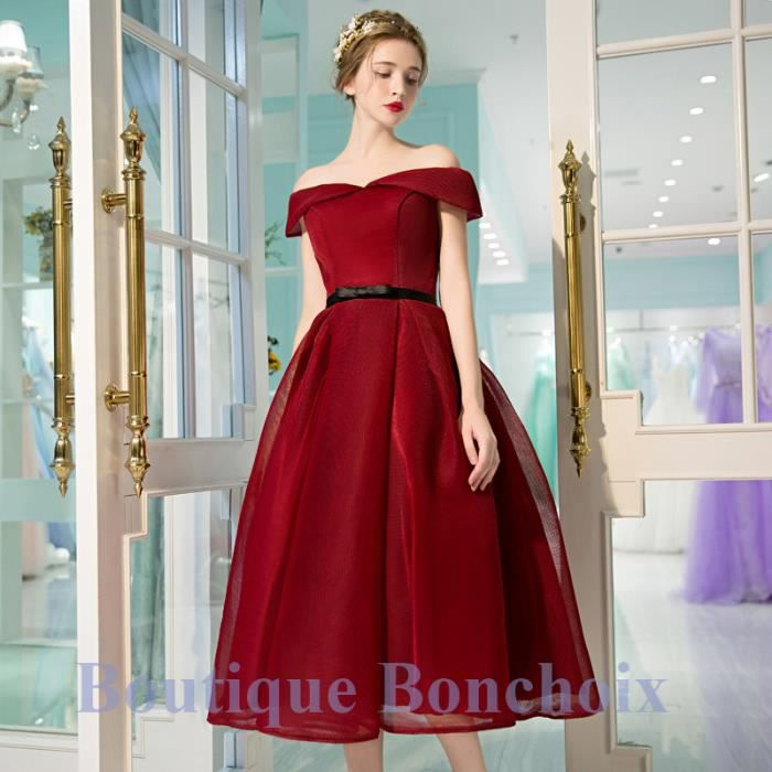 Robe cocktail mariage bordeaux