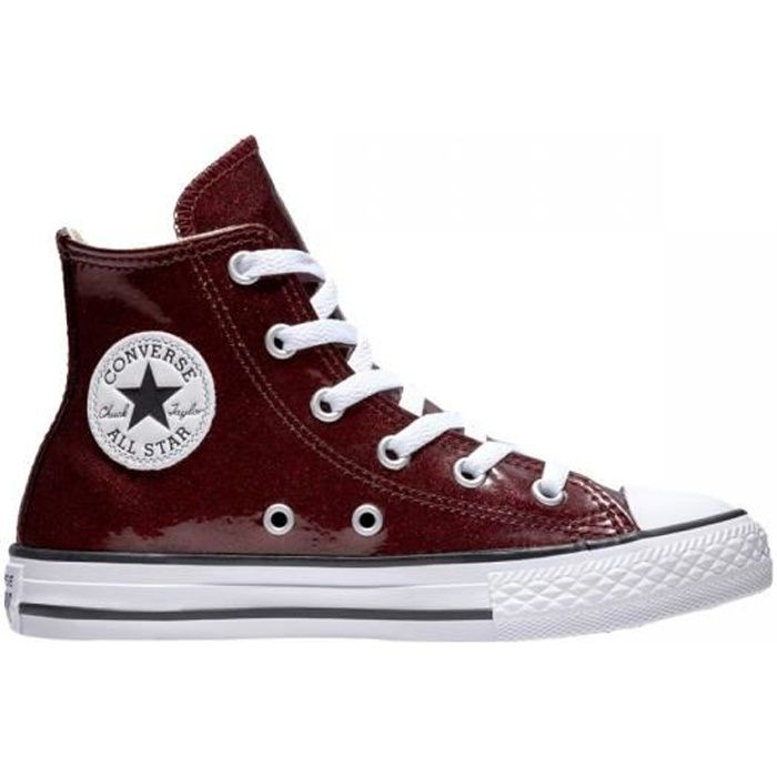 4fa0393c3ac69 CONVERSE - Baskets chuck taylor all star glitter bordeaux enfant ...