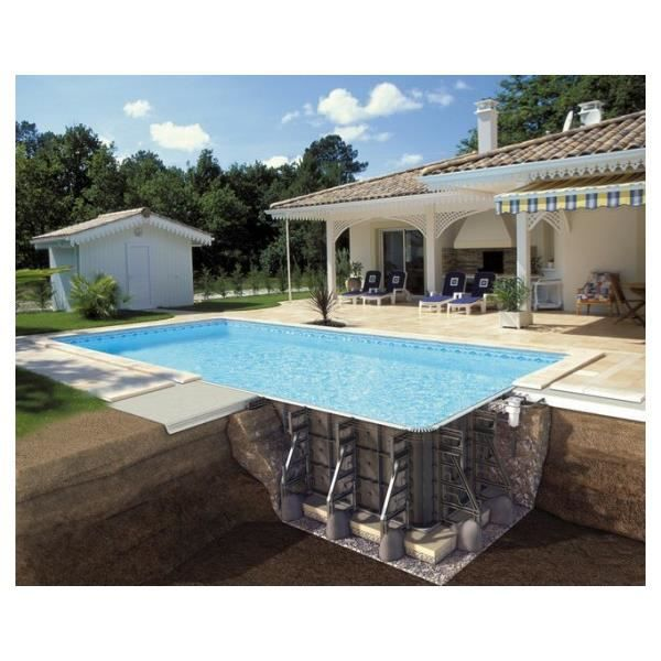 Piscine en kit enterr e rectangulaire 8x4x1 50m soliflow for Piscine enterree en kit