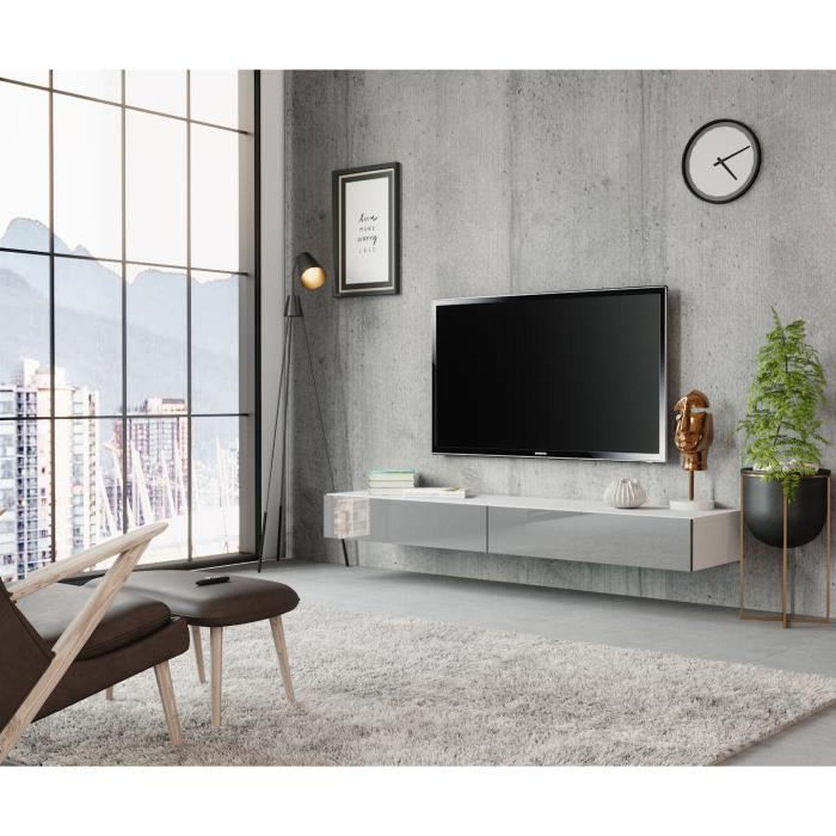 Difference Blanc Brillant Et Blanc Laqué meuble suspendu blanc laque