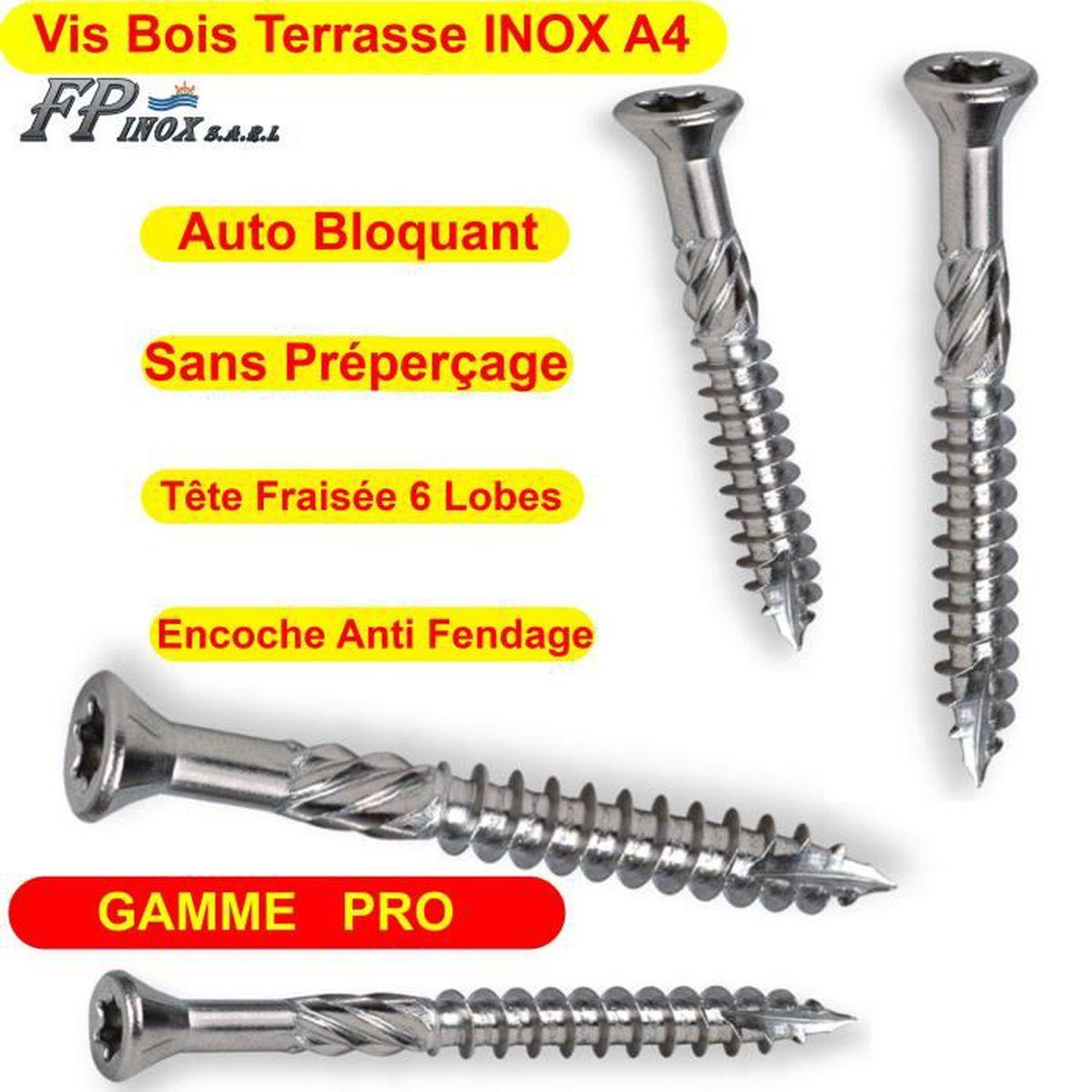 5x60 Lot 200 Vis Terrasses INOX A4 Bois Dur Exotique GAMME PRO 5x60 5x70 Piscine