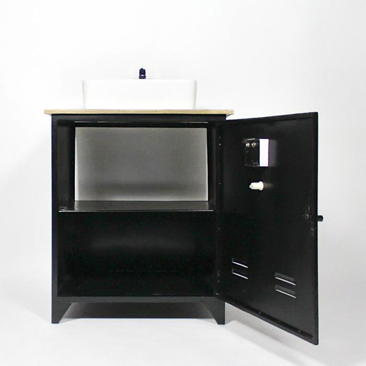 meuble salle de bain industriel 1 vasque style casier votl pas9 58 noir achat vente meuble. Black Bedroom Furniture Sets. Home Design Ideas