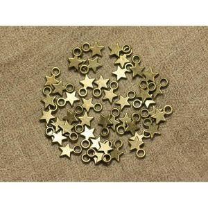Perles 40pc - Perles Breloques Etoiles Métal Bronze 10mm
