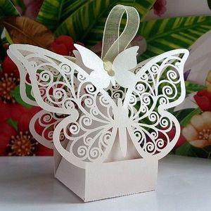 BOÎTE À DRAGÉES 10 Boîtes à dragées papillon blanc / crème