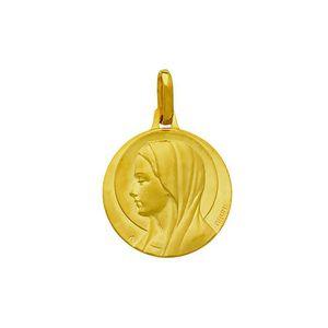 PENDENTIF VENDU SEUL Médaille ronde Vierge or jaune 18 carats