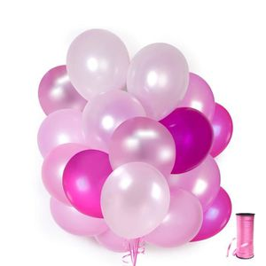 """10 ballons gonflable ø 29 CM FUCHSIA /""""Just Married/"""" Metallic mariage pink"""