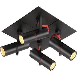 PLAFONNIER Plafonnier 4 spots orientables TITTO noir en métal