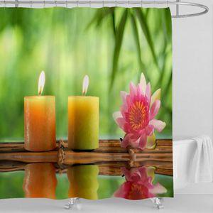 RIDEAU DE DOUCHE Rideau de douche ZEN bambous bougies fleur anneaux
