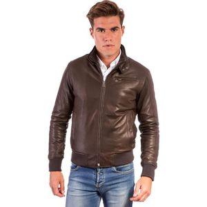 BLOUSON THIN  couleur marron foncée  Blouson cuir homme st