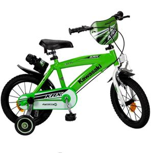 VÉLO ENFANT Vélo Kawasaki 14 pouces 4 a 6 ans Neuf Vert Moto