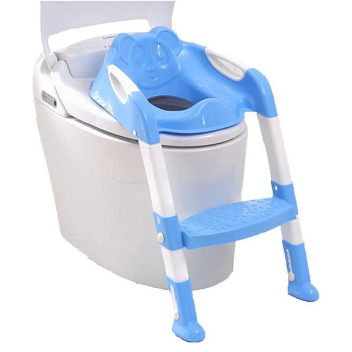 Abattant Toilette Siège de Toilettes Enfants Bébé Pot Siège Avec Échelle Pliant Pot Chaise Formation Portable et Durable(Rose)