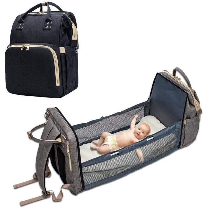 Sac de Voyage Polyvalent pour bébé Sac à Couches Convertible pour bébé 4 en 1 Lit de bébé Pliable, Station à Langer Portable-Noir