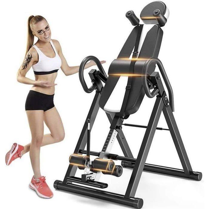 YOLEO Table d'Inversion Pliable Musculation Appareil du Dos Bras Réglable 185cm Inversion 180° Sport Exercice Maison Bureau - Blanc