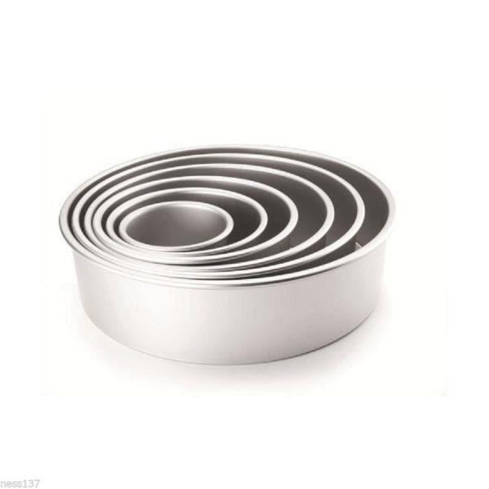 Serie 4 Moules Aluminium Ronds Fond Amovible Gateau Patisserie Cake Design