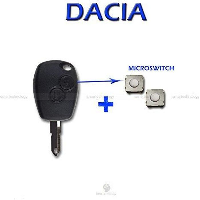 Coque + lame + 2 boutons télécommande micro switch Pour clé de Dacia Logan, Duster