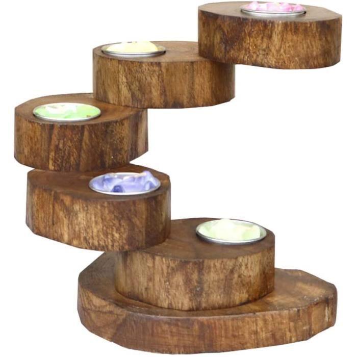 jeerbly Bougeoir en bois pour dcoration de table Plante et fleur[18058]