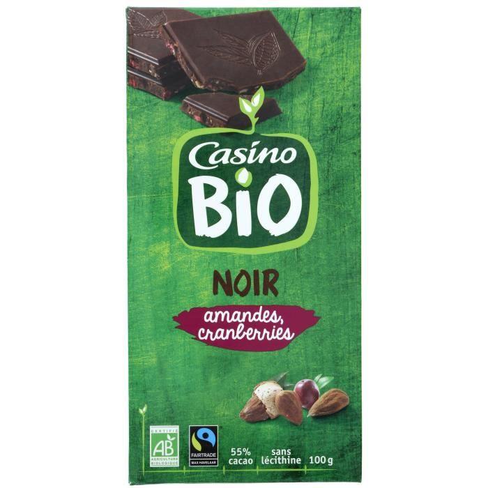 CASINO Chocolat noir Amandes Cranberries Bio - 100G