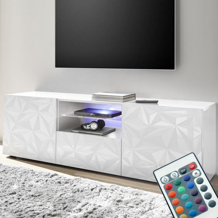 Grand meuble télé lumineux laqué blanc design PAOLO 2 Blanc L 181 x P 42 x H 79 cm