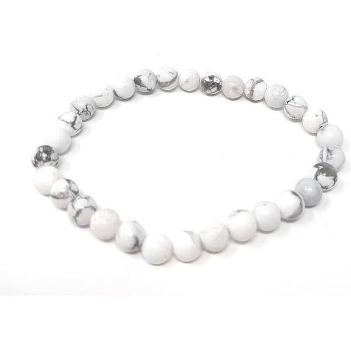 Bracelet Howlite blanche - Adulte - Pierres naturelles - Lithothérapie - Bienfaits - Vertus -Idée cadeau -Soulage et apaise -Naturel
