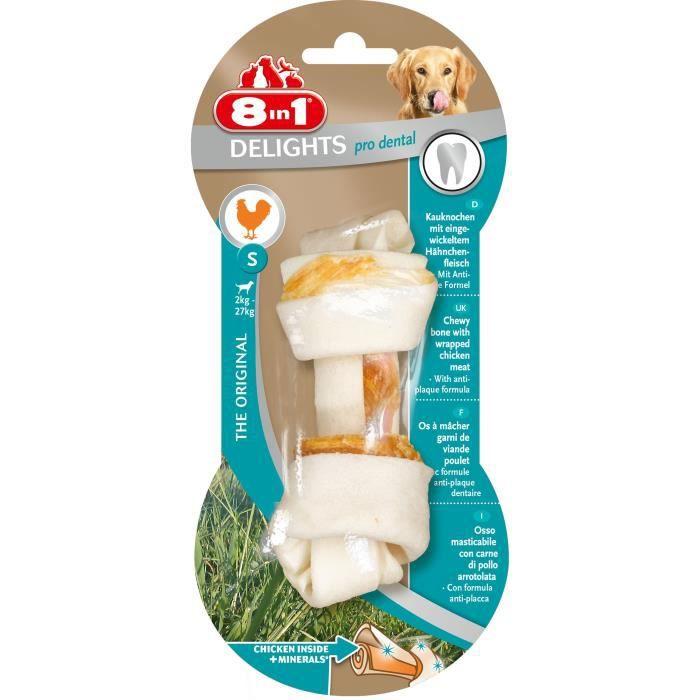 8in1 Os à mâcher au poulet Dental Delights - Taille S - Pour chien - Carton de 6 sachets