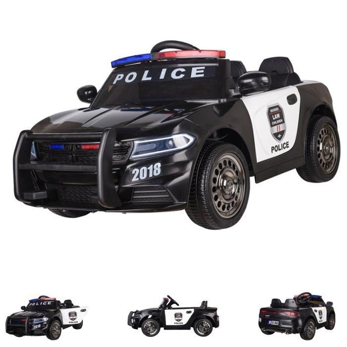 ES-Toys Voiture électrique pour enfants Police Design 66, Sirène, Feux de police