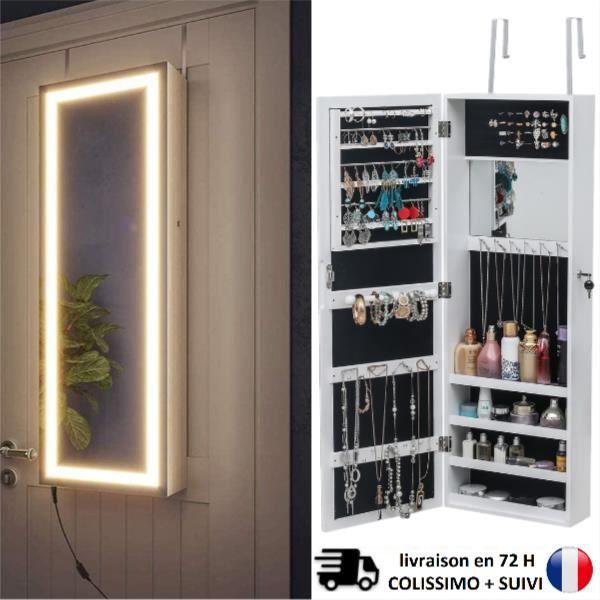 Armoire à Bijoux Robuste verrouillable à Montage Mural à écran Tactile, boîtes de Rangement pour Bijoux et miroirs de Toilette