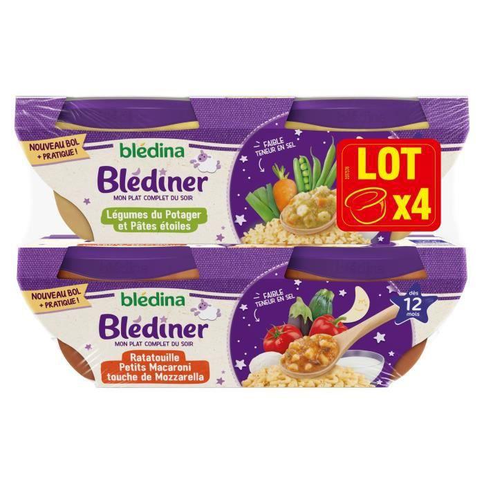 Blédina Blediner - Légumes du potager et pâtes étoiles - Ratatouille Macaroni Mozzarella - Dès 12 mois - Pack de 4 bols x 200 g