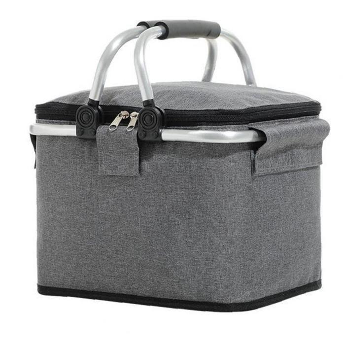 Panier de pique-nique isolé pliable Grand sac à lunch isothermique Camping Boîte de refroidisseur gris