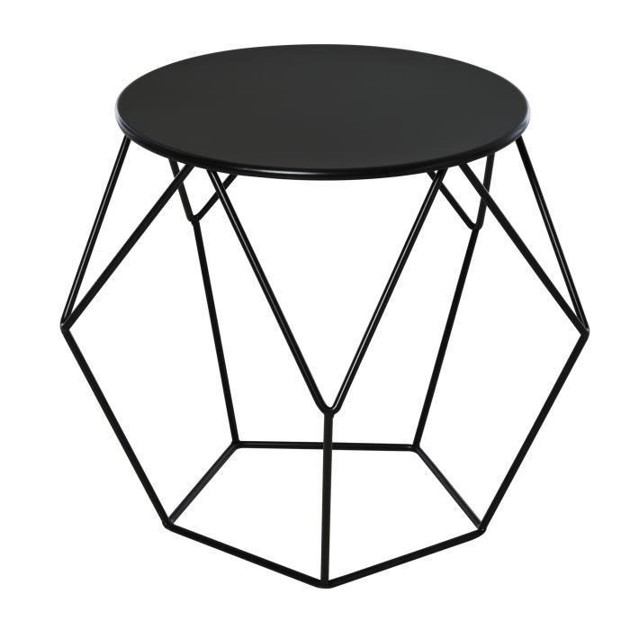 Table basse ronde design industriel néo-rétro dim. 54L x 54l x 44H cm plateau Ø 40 cm acier noir 54x54x44cm Noir