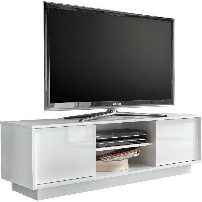 Miliboo - Meuble TV design L138 cm blanc laqué brillant COMO