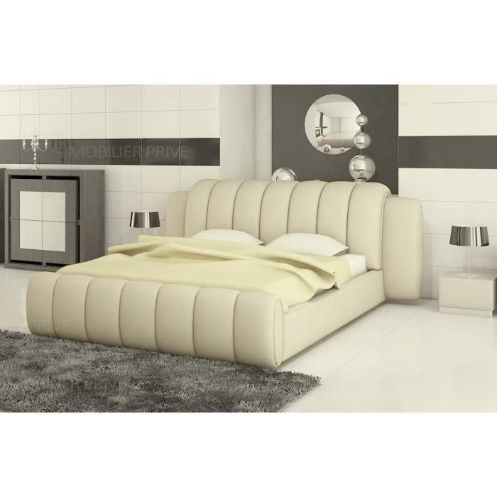 Lit design en cuir de luxe SPLENDIDE, ECRU, dimension de couchage 140X190, avec sommier à lattes