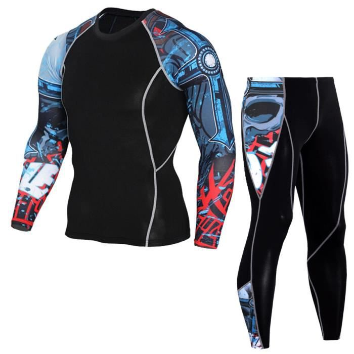 Ensemble de vêtements de sport homme 2 pièces T shirt+ pantalon leggings de compression fitness course élastique à séchage rapide