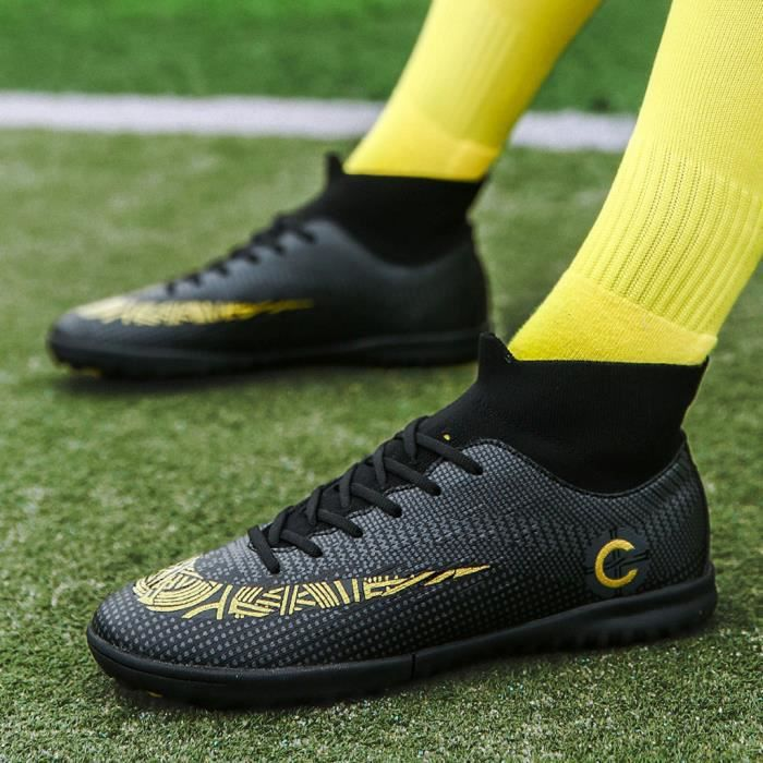 Chaussures de football pour hommes Chaussures de football avec chaussures hautes pour le sport Noir