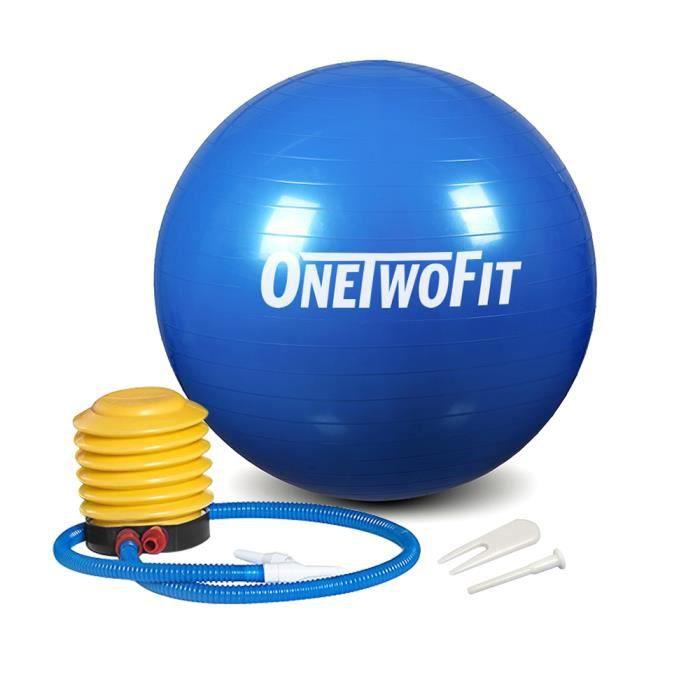 OneTwoFit 65cm Ballon de Yoga Ballon d' Exercice d'Équilibre pour Gym Pilate Exercice d'Abdominaux (Bleu) OT090