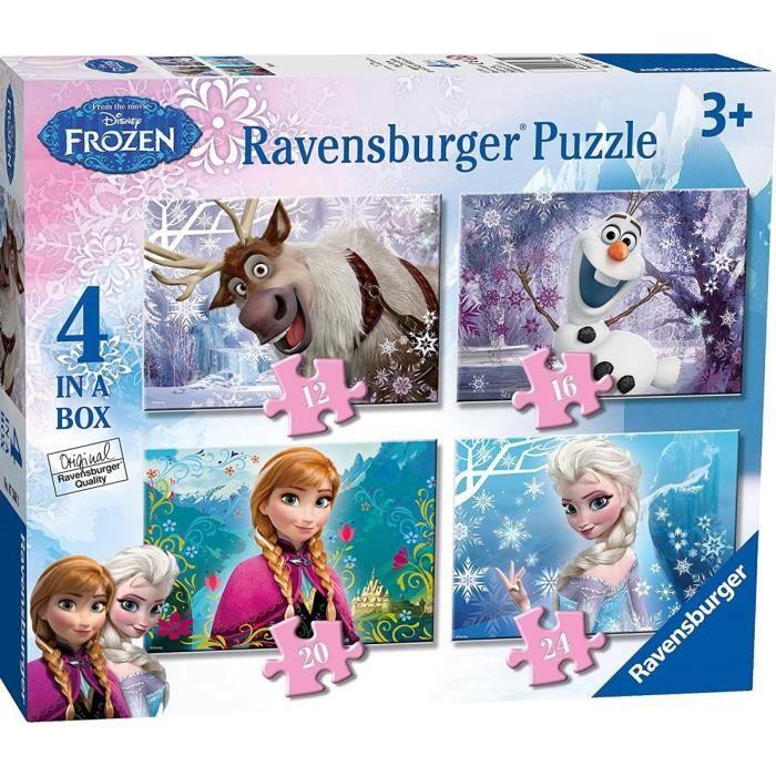 4 Puzzles Progressifs Enfant - Reine Des Neiges : Elsa Olaf Anna Sven 12 - 16 - 20 - 24 Pieces - Puzzle Ravensburger Frozen - Disney