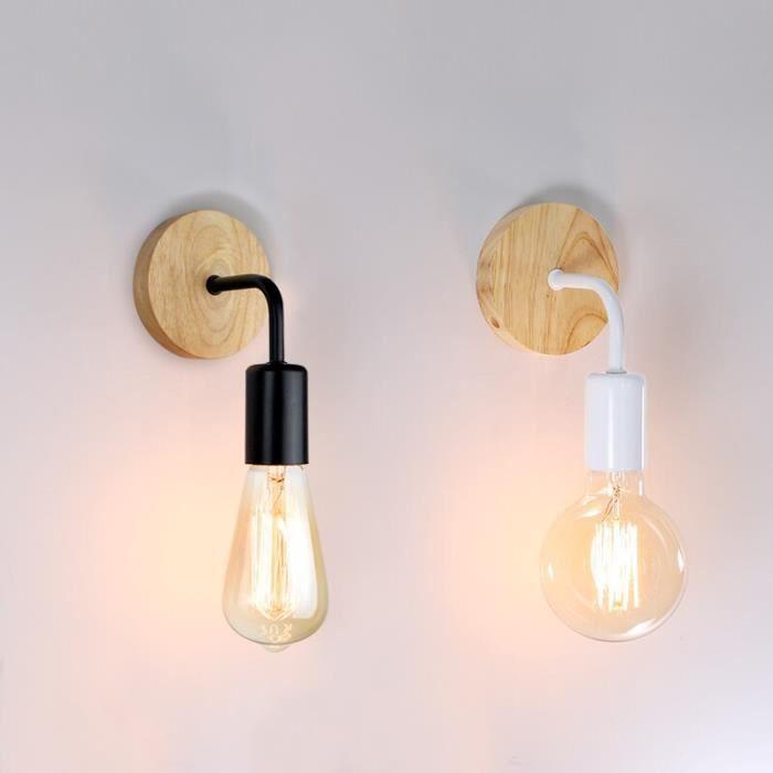 RUMOCOVO® Applique murale au design industriel rétro avec base en bois, luminaire d'intérieur au style vintage - Noir