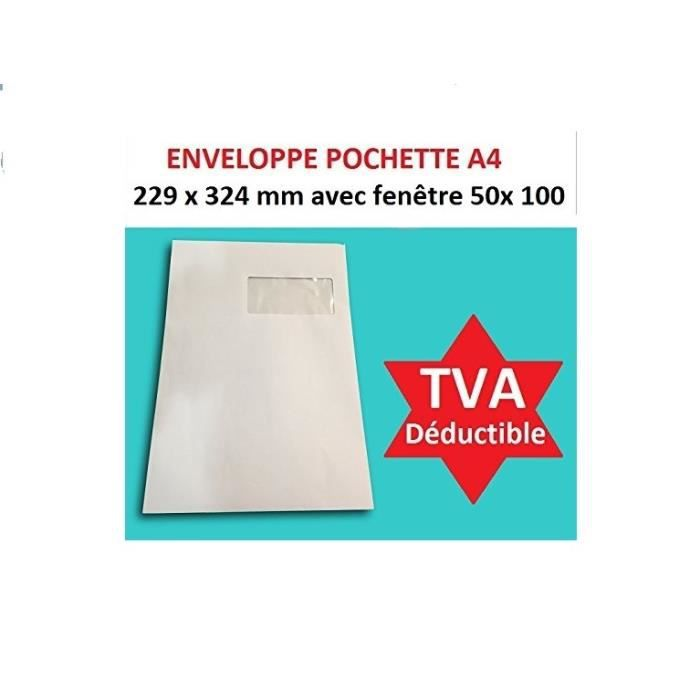 lot de 500 ex Grande enveloppe avec fenetre pochette courrier A4 - C4 papier kraft blanc 90g format 229 x 324 mm une enveloppe