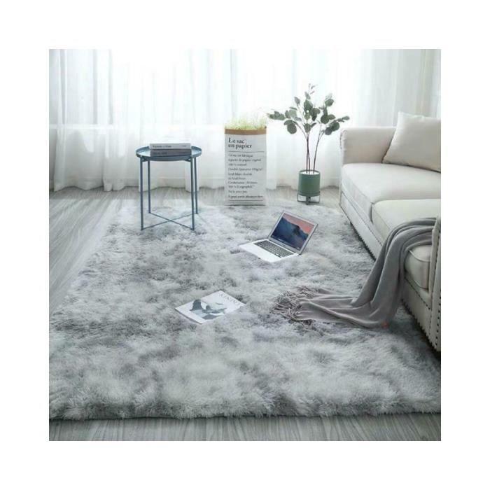 tapis shaggy en peluche 160 x 230cm gris doux tapis de salon antiderapant decor tapis de chambre de noel de maison