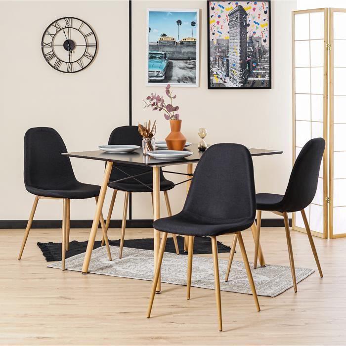 4 chaise bois en Lot de noir dCxrBoeW