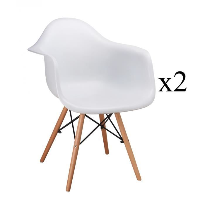 lot de 2 chaises blanhe scandinave avec accoudoir retro achat vente chaise blanc cdiscount. Black Bedroom Furniture Sets. Home Design Ideas