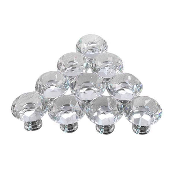 2 diamants de haute qualité Cristal Boutons de Porte Tiroir Verre Décoration Meubles Maison