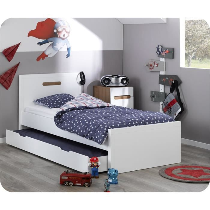 pack lit enfant bow blanc avec sommier matelas natura 90x200 cm achat vente structure de lit. Black Bedroom Furniture Sets. Home Design Ideas