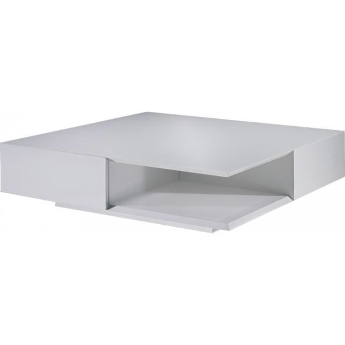 Table basse design carr e laque blanc brillant 2 tiroirs - Table basse carree design ...