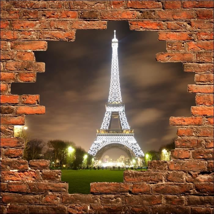 sticker mural trompe l 39 oeil tour eiffel dimensions 200x200cm achat vente stickers cdiscount. Black Bedroom Furniture Sets. Home Design Ideas